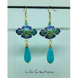 "Boucles d'oreilles ""Oriental Blue"" en jade naturel"