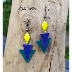 Boucles d'oreilles en cuir jaune, bleu et vert