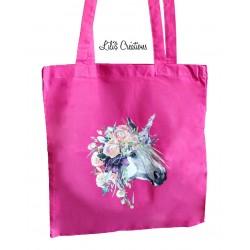 "Tote-bag ""Licorne fleurie"""