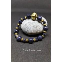 Bracelet bleu nuit et bronze