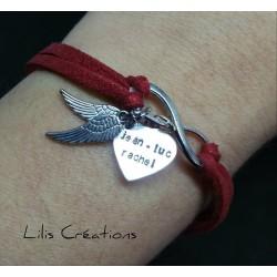 Bracelet en suédine rouge...